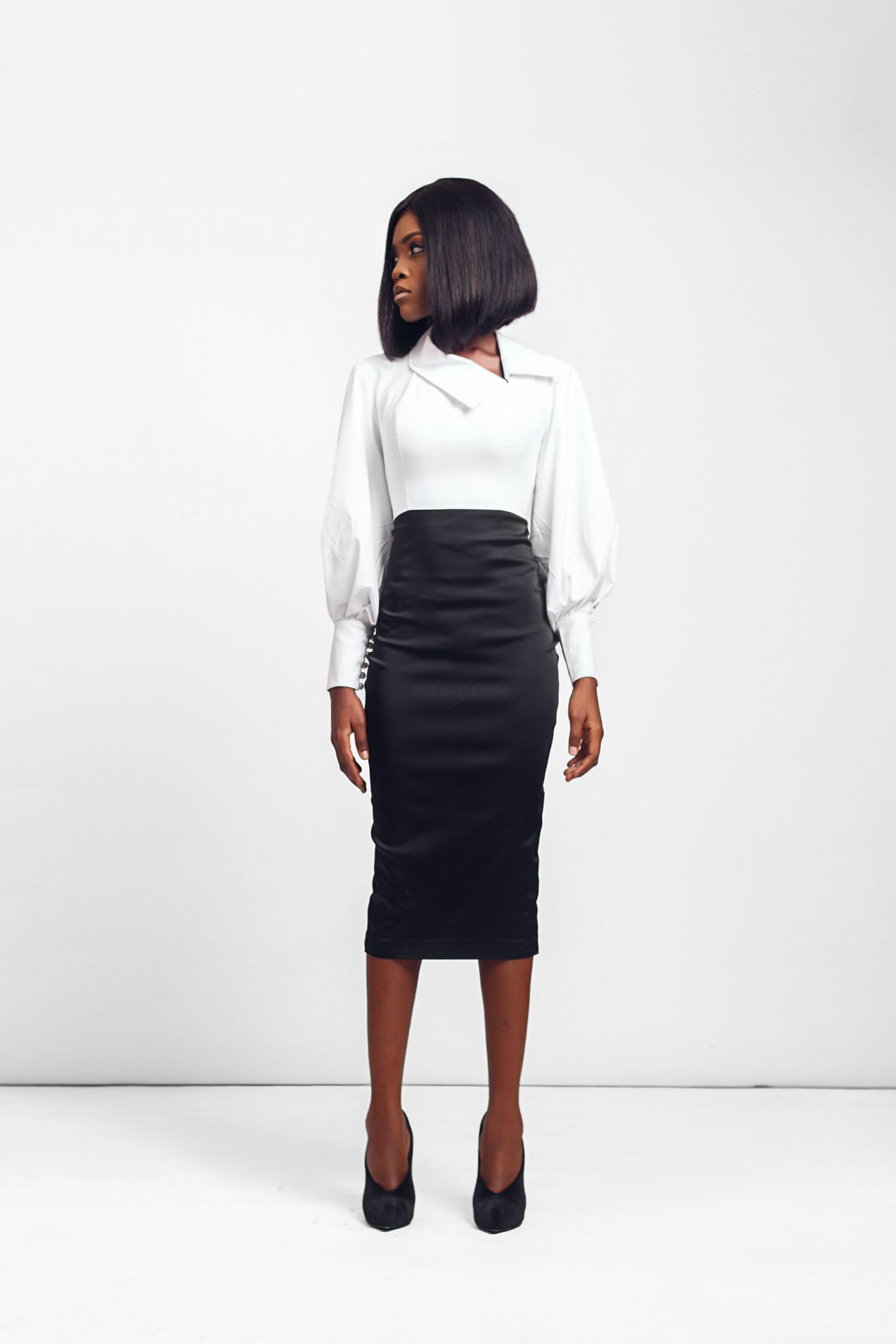 Shirt with Exaggerated Sleeves & Side Collar Detail