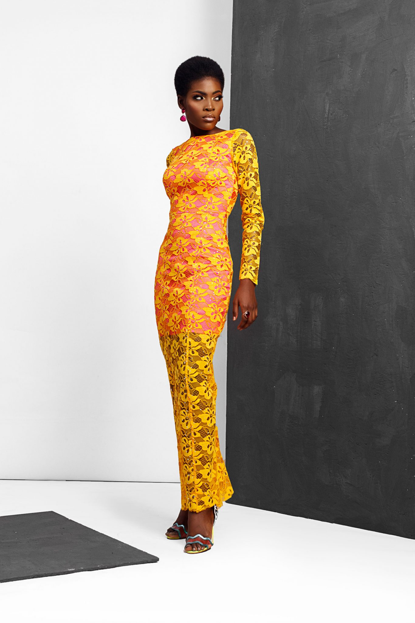Lace MiXi Dress with Contrast Lining