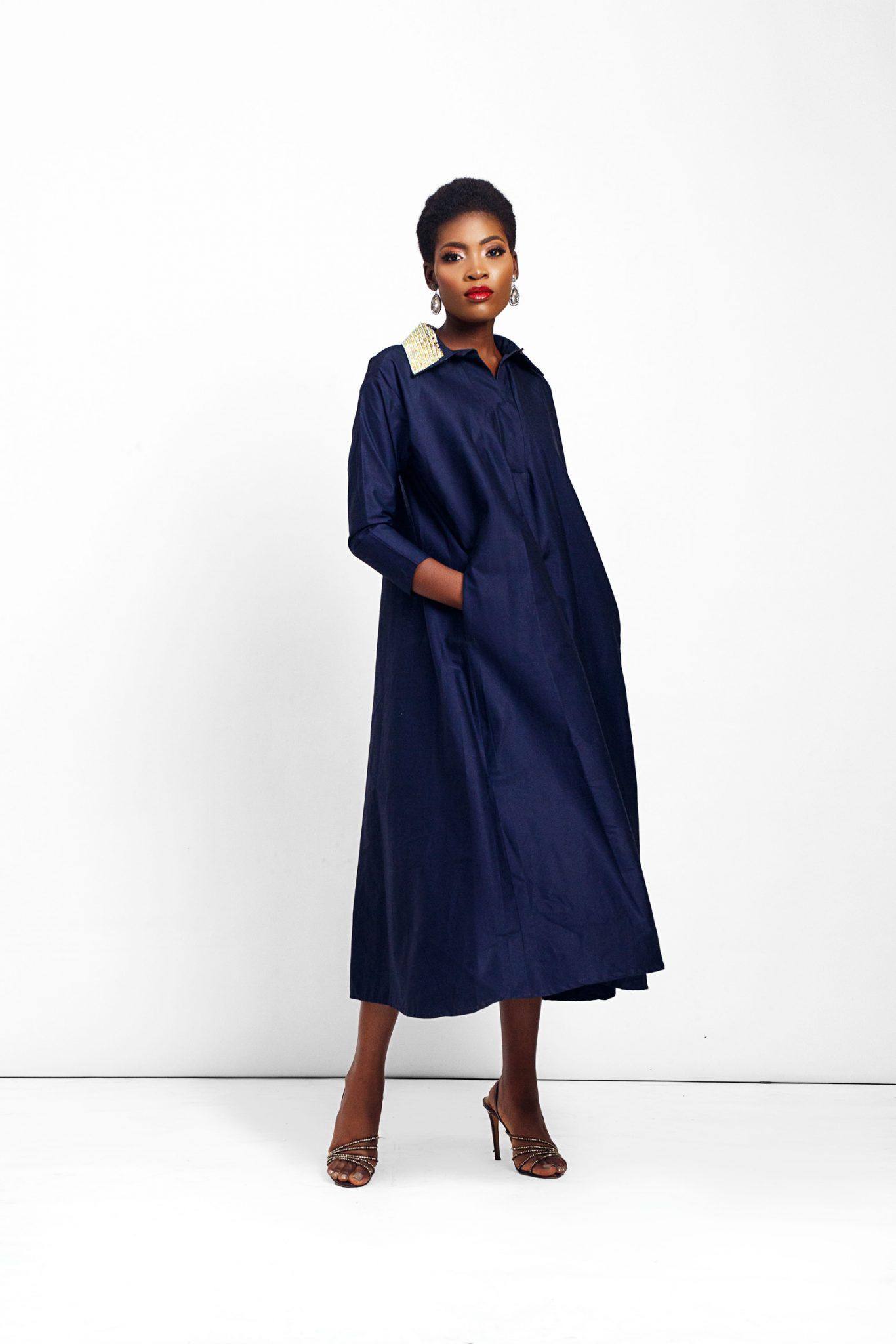 Oversized Shirt Dress with Embellished Collar Details