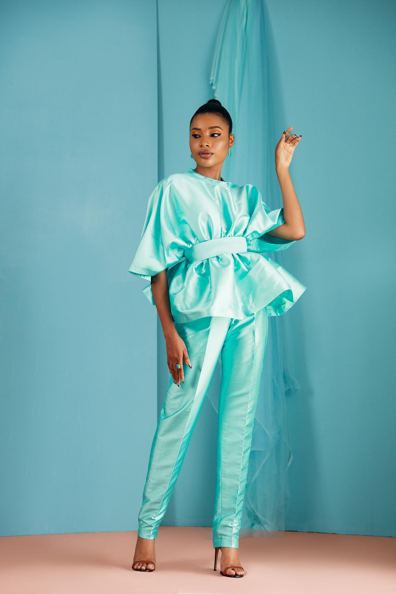 Gathered Silk Taffeta Top & Trouser Set
