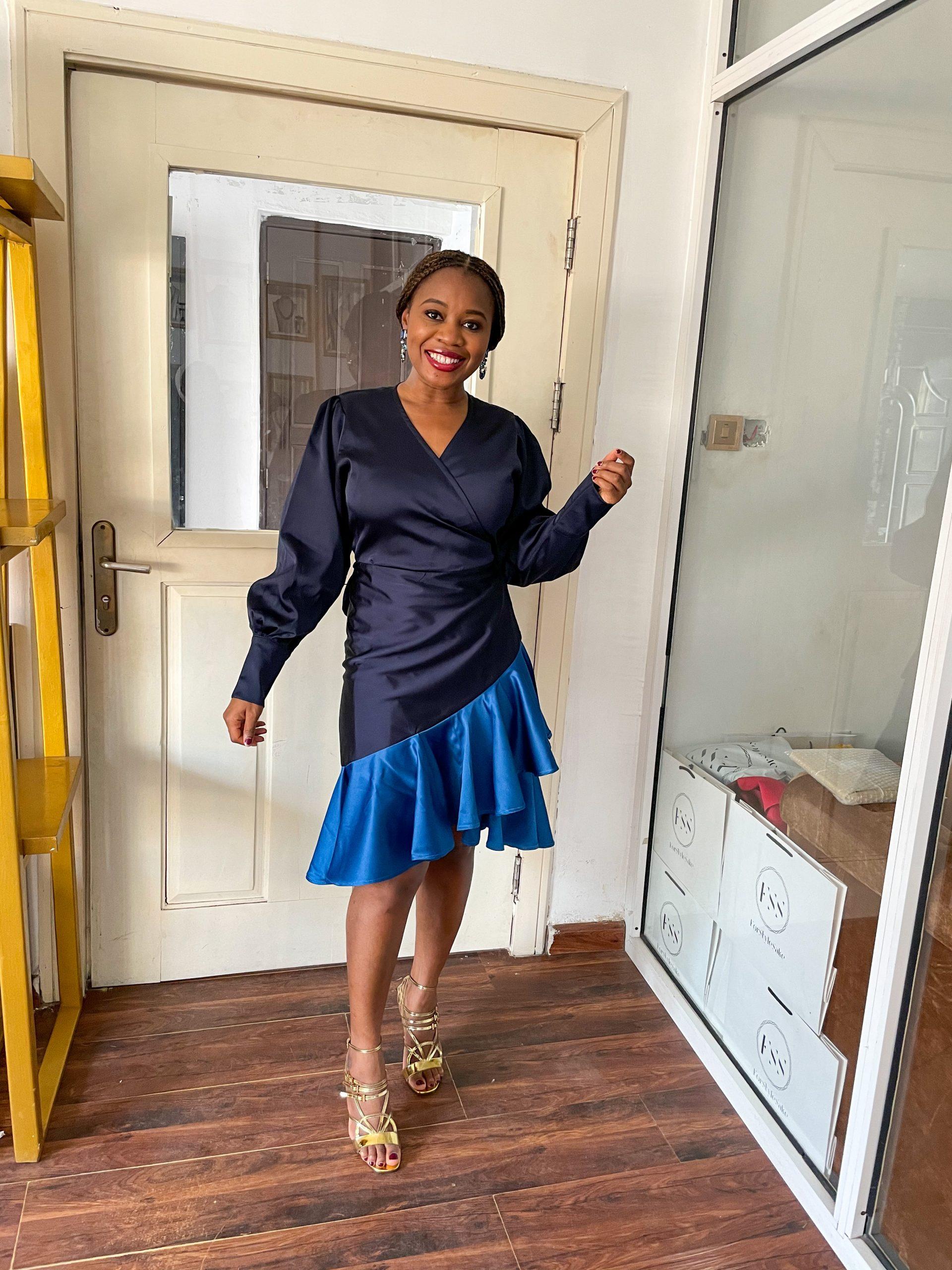 Two-Tone Duchess Satin Wrap Dress